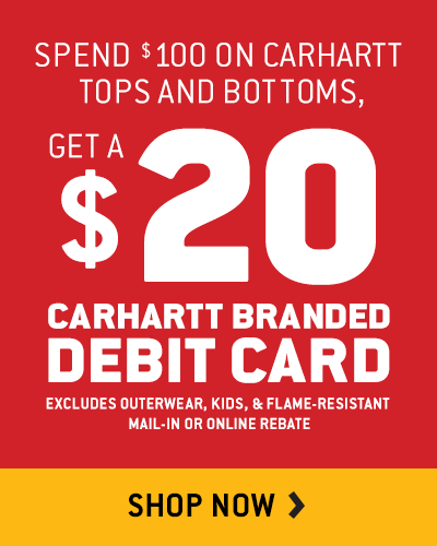 Carhartt $20 Debit Card Rebate